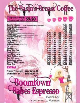 Boomtown Babes Menu